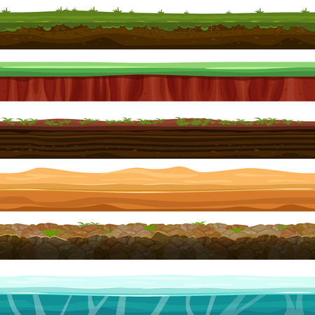 game design: Seamless grounds, soils and land vector set for UI games. Surface water stone grass snow ice illustration