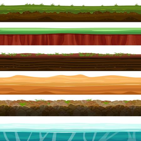 Terreno senza soluzione di continuità, suoli e terreni vettore fissati per i giochi UI. Superficie di erba di pietra d'acqua illustrazione neve ghiaccio Vettoriali