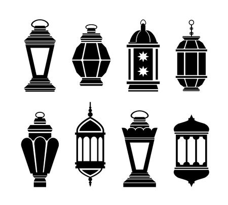 Ramadan Kareem Arabisch Lanterns. Lantaarn vector zwarte silhouetten Stock Illustratie