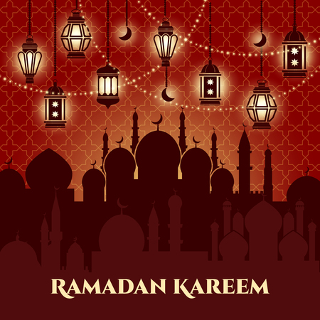 night background: Ramadan Kareem background with mosques and minarets