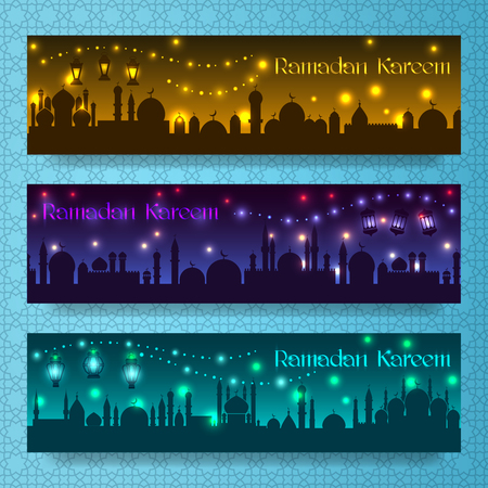 lantern festival: Banners for ramadan kareem and eid with night holiday arab city