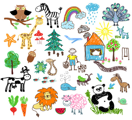 cartoon rainbow: Childrens drawings of people and animals, houses and trees