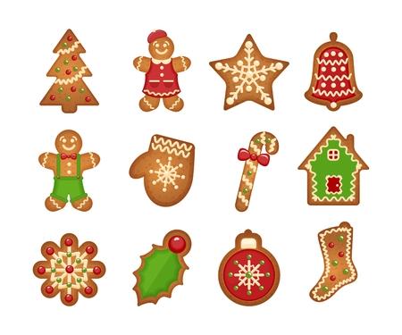 Biscoitos de gengibre de Natal em fundo branco. Árvore de Natal e estrela, sino e casa