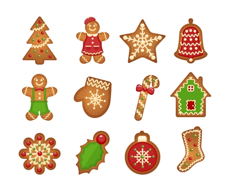 candies: Galletas de jengibre de Navidad sobre fondo blanco. Árbol de navidad y estrellas, la campana y la casa