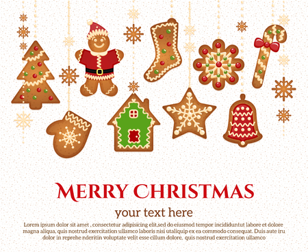 congratulatory: Christmas holiday icons and elements garland with congratulatory text