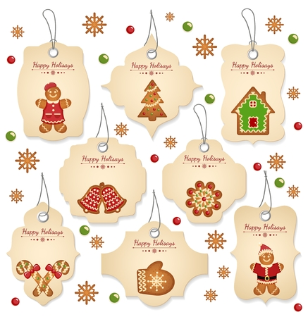 sale banner: Christmas sale tags with christmas elements on a white background Illustration