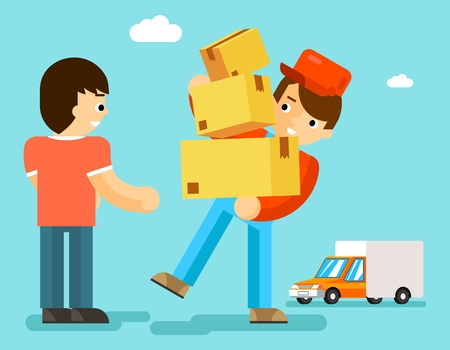 Delivery man with boxes and car gives package to client. Parcel carton, courier person, postman and transport express. Vector illustration Stock Illustratie