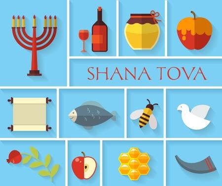Happy Jewish new year Shana Tova icons set. Apple and honey, pomegranate and food, vector illustration Illustration