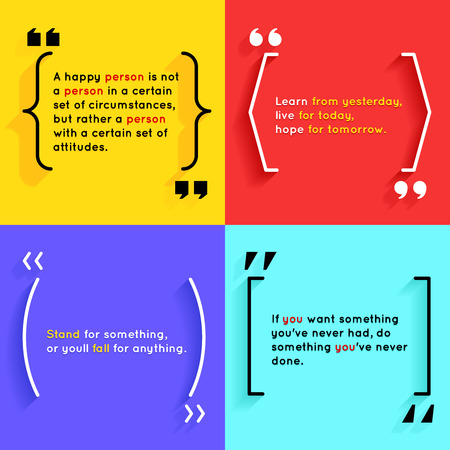 Quotes and brackets Speech Bubbles. Short quotes in quotation marks Illustration