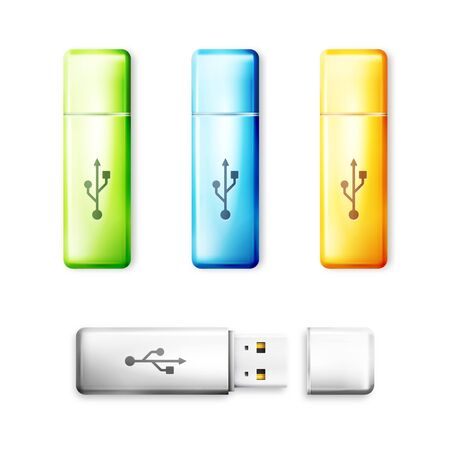 memory drive: USB flash drive over white background. Memory transfer technology, storage electronic portable connect device. Vector illustration