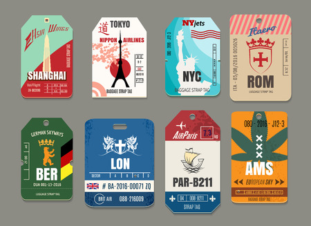 Vintage baggage or luggage vector paper tags set. Rome and tokyo, new york and shanghai, amsterdam and berlin, paris and london illustration