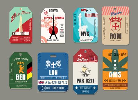 bagagli: Tag del bagaglio Vintage o bagaglio vettore di carta impostati. Roma e Tokyo, New York e Shanghai, Amsterdam e Berlino, Parigi e Londra illustrazione Vettoriali
