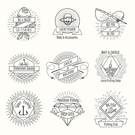 rod sign: Retro fishing logo or labels set. Fisher and fisherman, badge and stamp, vector illustration