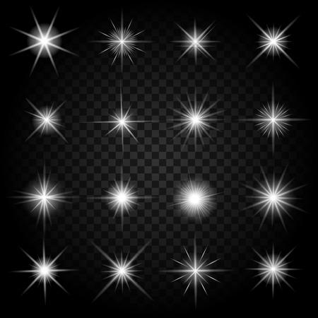 Stars barst met glitters en gloeiende lichteffecten. Grafisch helder set, barsten vuurwerk twinkeling, vector illustratie Stock Illustratie