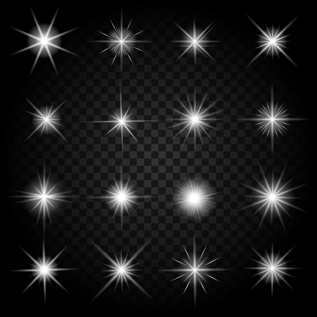 Stars bursts with sparkles and glowing light effects. Graphic bright set, burst firework twinkle, vector illustration