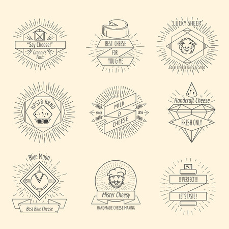 snack: Handmade cheese logo or hipster craft cheesemaking emblem vintage vector set. Food handcraft, breakfast snack. Vector illustration Illustration