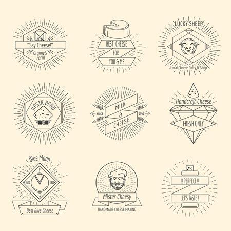 botanas: Logo queso hecho a mano u oficio inconformista del queso emblema conjunto de vectores de la vendimia. Artesanía alimentaria, desayuno merienda. Ilustración vectorial