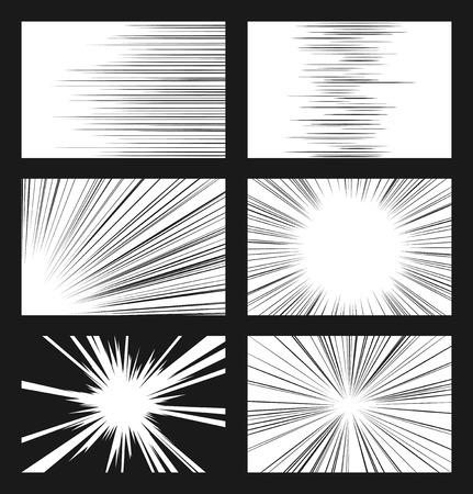 Comic linee di velocità orizzontali e radiali insieme vettoriale. Ray e accelerazione, ultraterrena illustrazione visionario