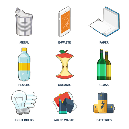 basura: Categorías de basura iconos conjunto de vectores. Batería y la bombilla, categoría colección, energía y papel ilustración