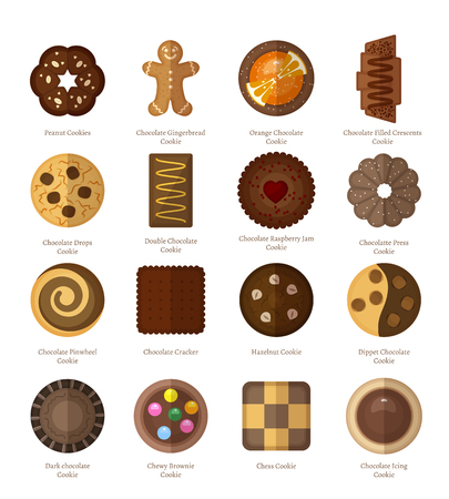 chocolate cookie: Chocolate cookie icons set. Biscuit and crescents, hazelnut and pinwheel, cracker and jam, ginderbread man and dippet. Vector illustration Illustration