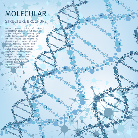 node: Molecule structure background for communication concept. Science background, node dna, research nuclear atom, vector illustration