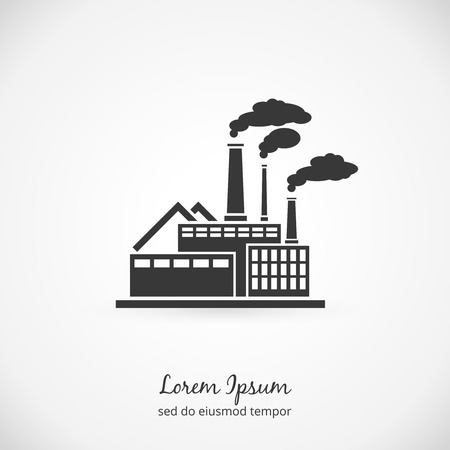 Factory logo. Building plant industrial, power energy, manufacturing station. Vector illustration
