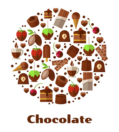 confectionery: Desserts and delicacies, chocolate food round sign. Design snack product, breakfast biscuit confectionery. Vector illustration
