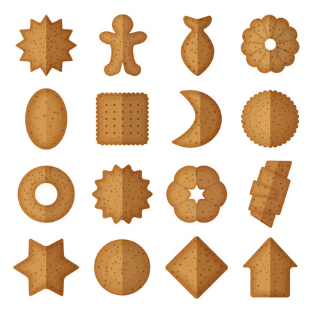 food backgrounds: Vector cookies of different shapes. Star and gingerbread man, fish and flower, sweet crescent and house illustration
