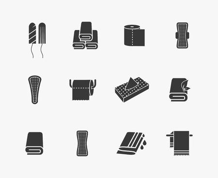 Törölköző, szalvéták és női higiéniai termékek vektor ikonok. Menstruációs szaniter, nő hüvelyi tampon, vektoros illusztráció