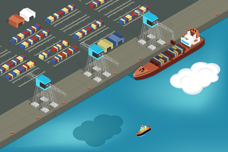 Cargo port. Commercial ship loading containers. Ship industry, container and transportation, export and logistic, vector illustration Vettoriali