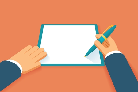 pacto: Manos firman contrato. Documento en papel Acuerdo, petición o pacto, acuerdo de licencia, el papeleo legal, ilustración vectorial