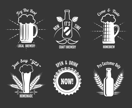 homemade style: Beer craft labels. Alcohol homemade, brewery production, badge bottle, vector illustration