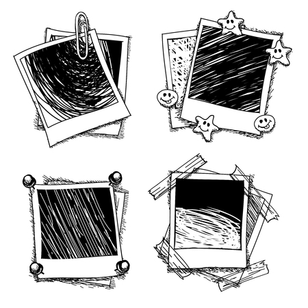 Vintage doodle photo frames. Drawing photoframe, sketch photography, memory blank image, vector illustration