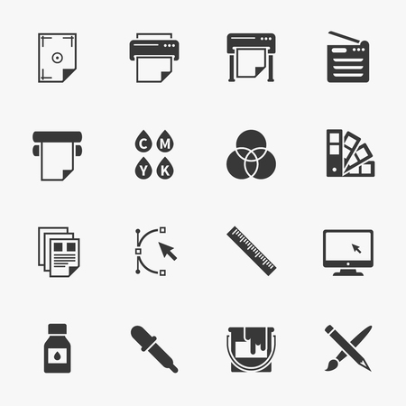 Vector set of printing icons. Palette and printer, curve bezier, color production, pencil and paintbrush illustration Illustration