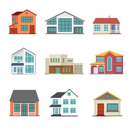 Vector set of cottage building flat icons. Architecture design real estate, home construction illustration