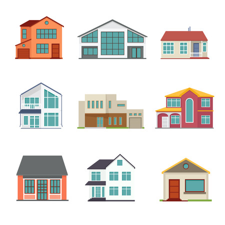 garage on house: Vector set of cottage building flat icons. Architecture design real estate, home construction illustration