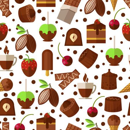helado de chocolate: Dulces y caramelos, chocolate y helado de fondo sin fisuras patr�n. Postre dulce, dulces y productos apetecible. Ilustraci�n vectorial
