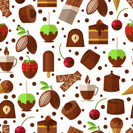 chocolate cupcake: Sweets and candies, chocolate and ice cream seamless pattern background. Sweet dessert, candy and product appetizing. Vector illustration
