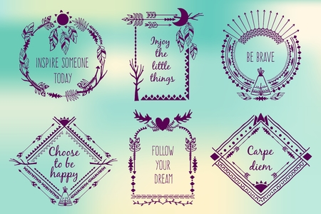 boho: Hand drawn boho style frames with place for your text. Arrow and feather and horns, art vector illustration