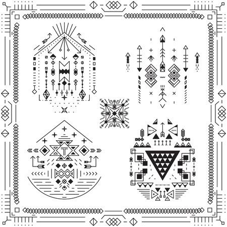 tribales: Elementos �tnicos tribales Boho. Decoraci�n del arte del ornamento, s�mbolo lineal ornamental. Ilustraci�n vectorial