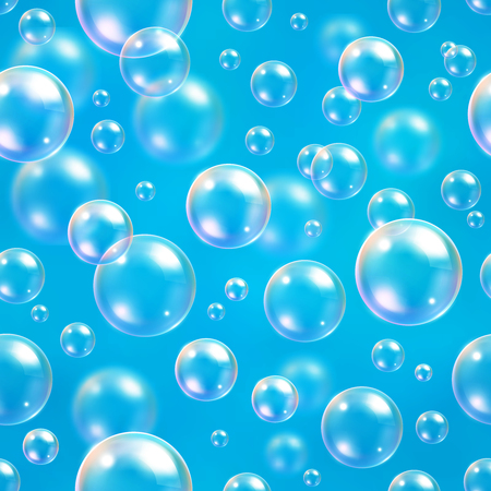 Oxygen bubbles in water blue background for scientific and biological concepts. Transparent circle, sphere ball, water sea or ocean, vector illustration