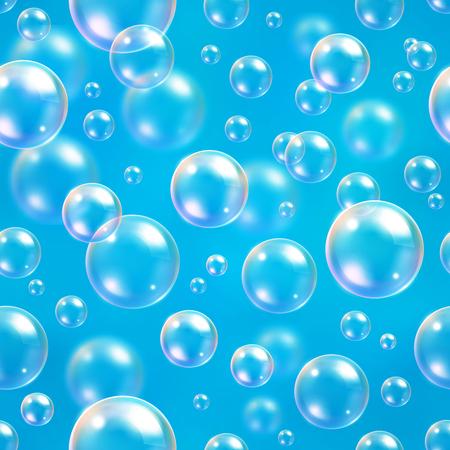 Zuurstof luchtbellen in het water blauwe achtergrond voor wetenschappelijke en biologische concepten. Transparante cirkel, gebied bal, water de zee of oceaan, vector illustratie Stock Illustratie