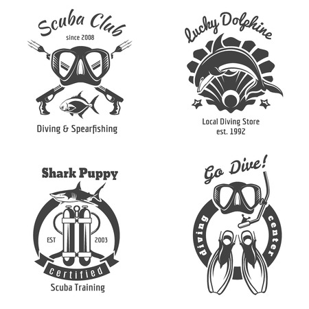 diving: Scuba diving club labels set. Underwater swimming icon. Sea dive, shark and spearfishing, vector illustration
