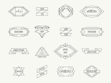 geometric: Vintage geometric hipster borders for labels. Retro sign, emblem decoration, badge and icon, vector illustration