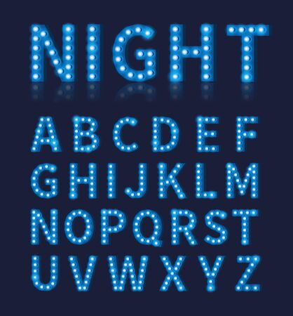 disco symbol: Vintage blue light bulb lamp font or alphabet. Typography design,  font bright glowing decoration, vector illustration