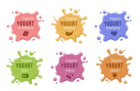 melocoton: Icono de yogur de frutas establecido. Alimentos producto de la leche de la cereza de la fresa y melocot�n, pl�tano y ar�ndanos. Ilustraci�n vectorial