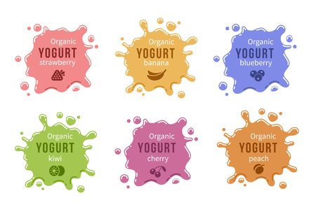 mleka: Ustawić ikonę jogurt owoce. Mleko produkt żywnościowy wiśni truskawki i brzoskwinia, banan i czernicy. Ilustracji wektorowych