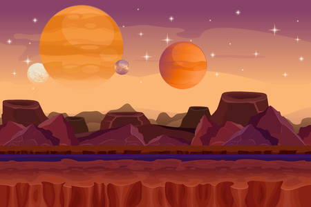 Cartoon sci-fi  game vector seamless background. Alien planet landscape. Mountain and crater, visualization fantasy, nature view graphic illustration