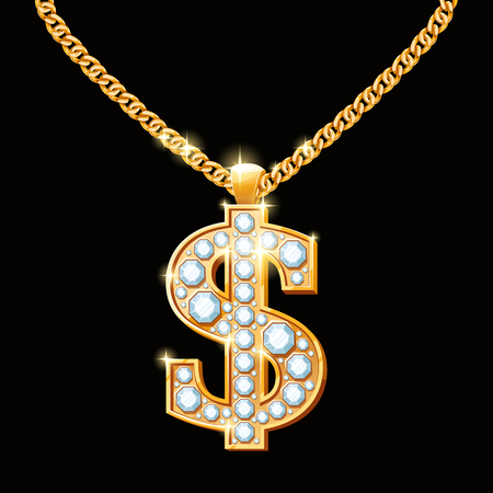 Dollar sign with diamonds on gold chain. Hip-hop style necklace.  Money finance, wealth and gem, vector illustration Çizim