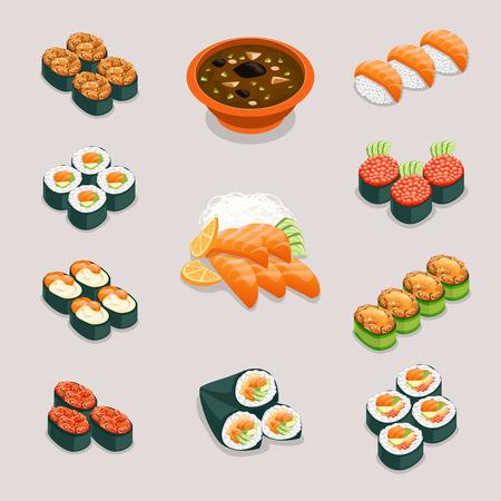 comida japonesa: Iconos de los alimentos de Asia. Rolls y sushi, sopa de miso y sashimi. Restaurante y sabroso menú, nutrición japonés o chino, ilustración vectorial